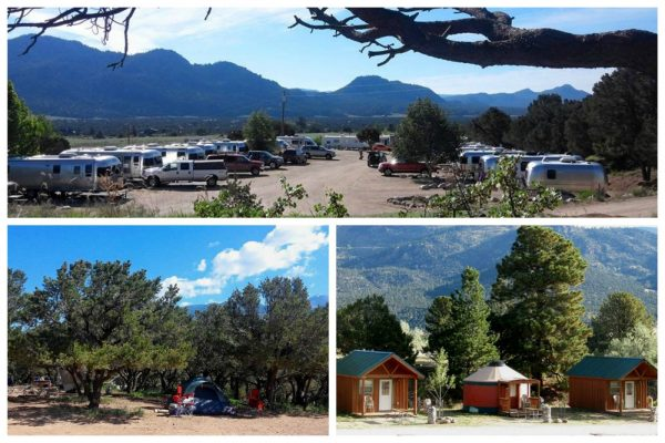 Arrowhead Point Campground & Cabins in Buena Vista Colorado collage of scenes around the park