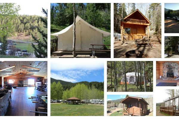 Aspen Acres Campground in Rye Colorado collage of scenes