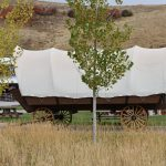 Glamping covered wagon at River Run RV Resort in Granby CO