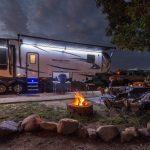 Colorado Springs KOA campsite with campfire