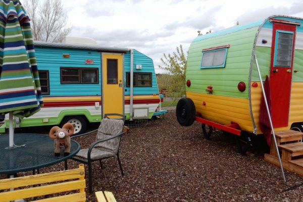 Rental vintage travel trailers for other lodging option at Circle The Wagon RV Park (La Veta CO)