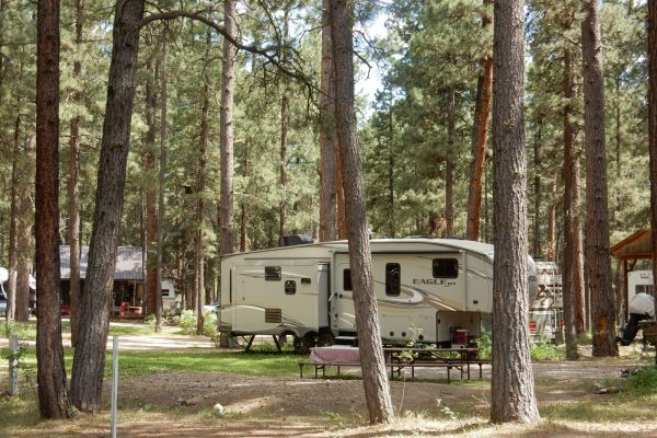 An RV at Sportman's Campground & Mountain Cabins in Pagosa Springs CO