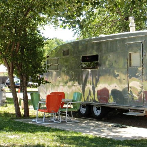 Vintage RV travel travel at Dolores River Campground (Dolores CO)