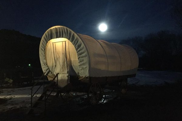 GLAMPING Covered wagon lodging option at Dolores River Campground