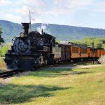 Durango & Silverton Narrow Gauge Railroad entering United Campground of Durango