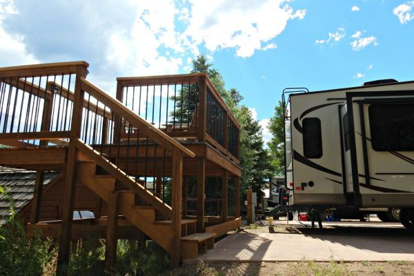 Estes Park KOA elevated deck at one RV site