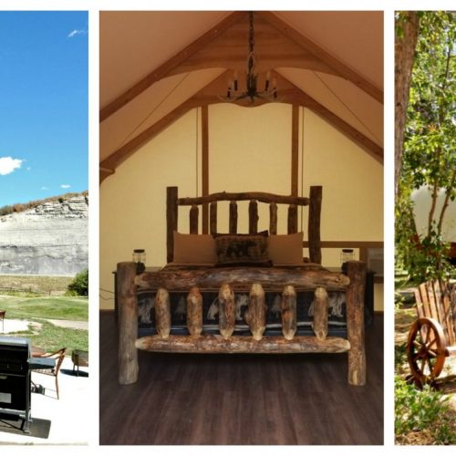 Glamping in Colorado collage shows a cabin a safari tent and a covered wagon
