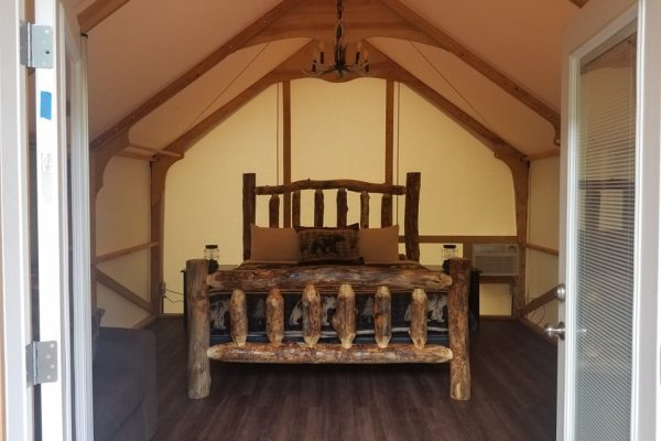 Glenwood Canyon glamping safari tent interior