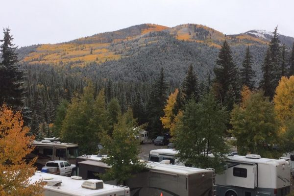 Highlander RV Campground during autumn season fall colors around Lake City Colorado