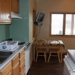 Kitchen and dining area in at cabin at Blue Mesa Escape, west of Gunnison CO