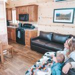 Inside a rental cabin at River Run RV Resort in Granby Colorado
