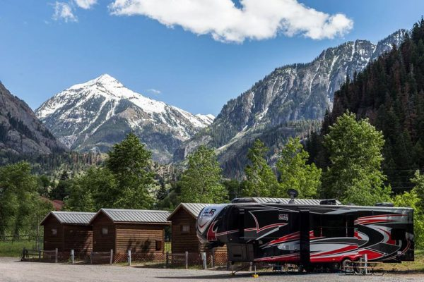Ouray RV Park cabins and an RV
