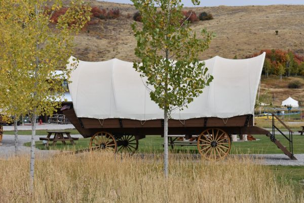 River Run Resort covered wagon glamping rental in Grand Lake CO