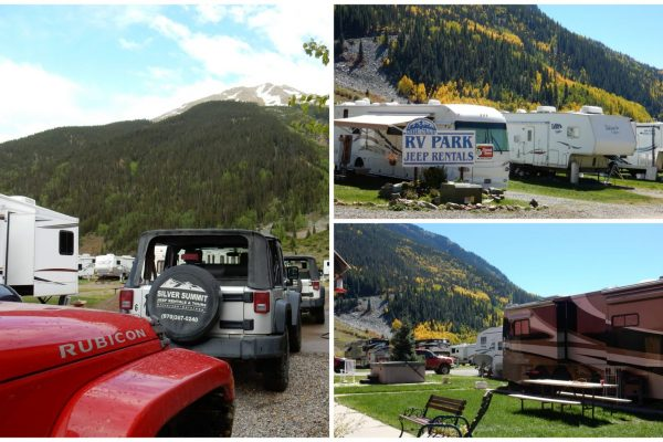 Silver Summit RV Park & Jeep Rentals in Silverton Colorado collage of scenes