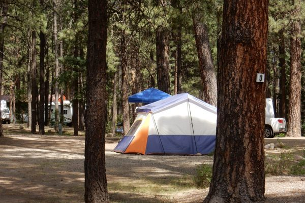 A camping tent at Sportman's Campground & Mountain Cabins in Pagosa Springs CO