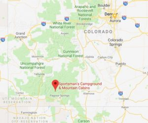The pin on the map shows where Sportsman's Campground & Mountain Cabins is located in southern Colorado