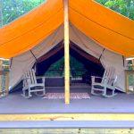 Glamping safari tent at River Run RV Resort in Granby CO
