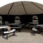 Great shady pavilion at Gunnison Lakeside RV Park and Cabins in Colorado