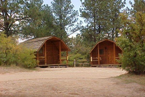 Camping cabins in the valley (Jellystone Park at Larkspur, Colorado)