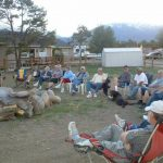 Weekly community campfires around our 6-ft. fire ring, at Mt Princeton RV Park & Cabins in Buena Vista CO