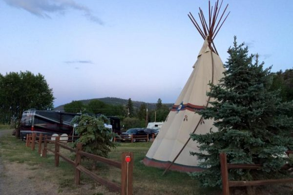 Enjoy the TeePee, RV spots, or rent a cabin at Ute Bluff Lodge in South Park